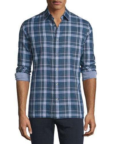 Double-Plaid Long-Sleeve Sport Shirt, Indigo