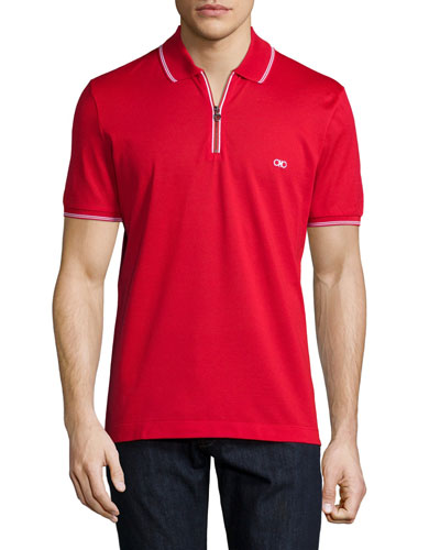 Short-Sleeve Zip Polo Shirt, Red