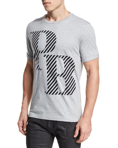 Striped Logo-Graphic Short-Sleeve T-Shirt, Gray