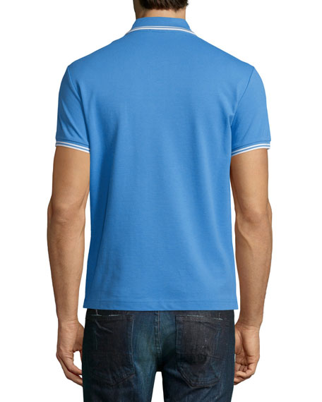 Twin-Tipped Short-Sleeve Polo Shirt, Blue