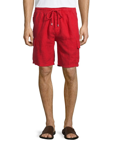 Baie Solid Linen Cargo Shorts, Red