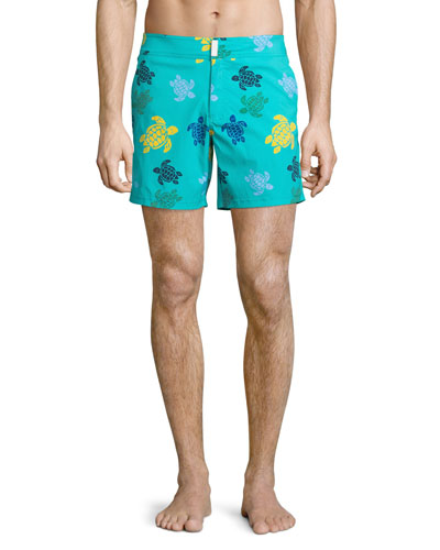Merise Multicolored Turtle-Print Swim Trunks, Multi