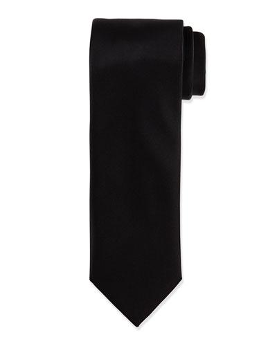 Solid Silk Satin Tie, Black