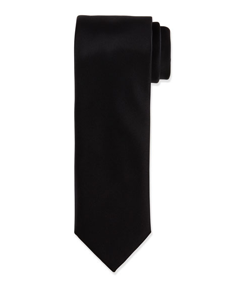 Brioni Solid Silk Satin Tie, Black