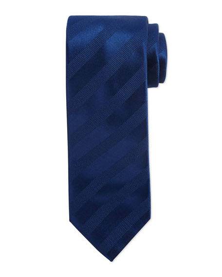 Brioni Ribbon Striped Silk Tie, Blue