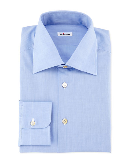 Kiton Solid Poplin Dress Shirt, Blue