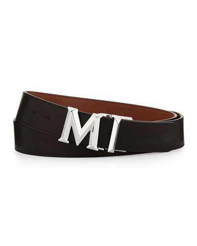 M-Buckle Smooth Leather Belt, Black
