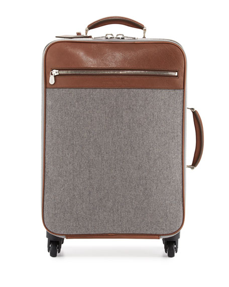 Men's Leather & Wool-Cashmere Trolley Suitcase, Tan/Gray