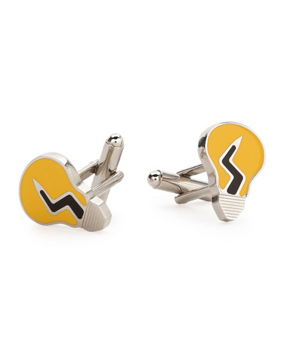 Light Bulb Cuff Links, Black/Yellow
