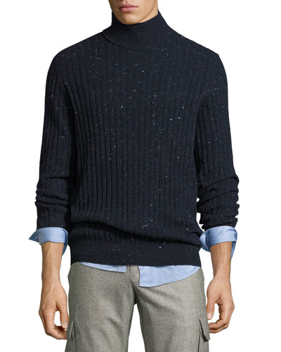 Donegal Ribbed-Knit Turtleneck Sweater, Navy