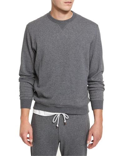Cotton-Blend Jersey Crewneck Sweatshirt, Dark Gray