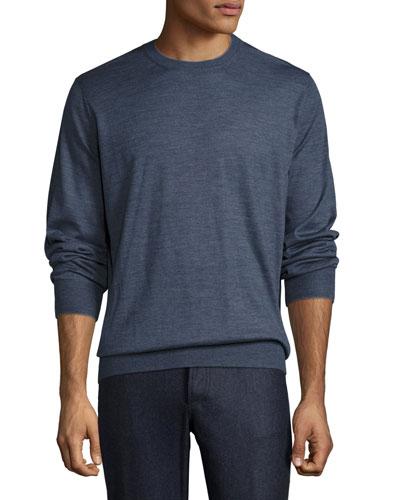Fine-Gauge Crewneck Sweater, Indigo