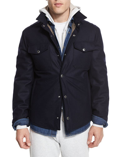 Flannel Wool-Blend Shirt Jacket, Navy