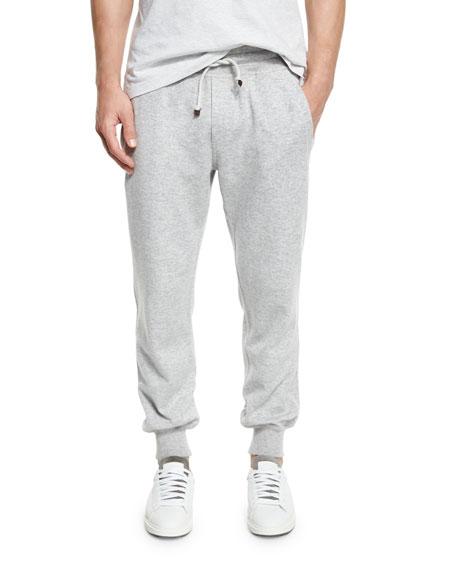Brunello Cucinelli Cashmere-Blend Banded Jogger Pants, Light Gray