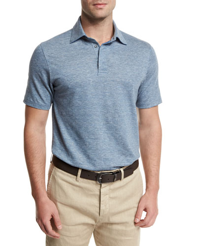 Melange Striped Short-Sleeve Polo Shirt, Light Blue