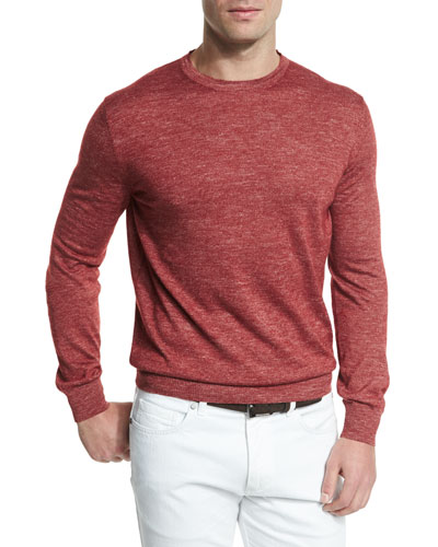 Cashmere-Blend Crewneck Sweater, Red
