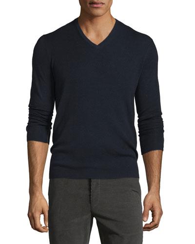 Long-Sleeve V-Neck Wool Sweater, Navy