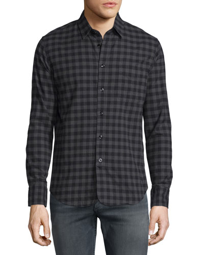Check Long-Sleeve Sport Shirt, Dark Gray