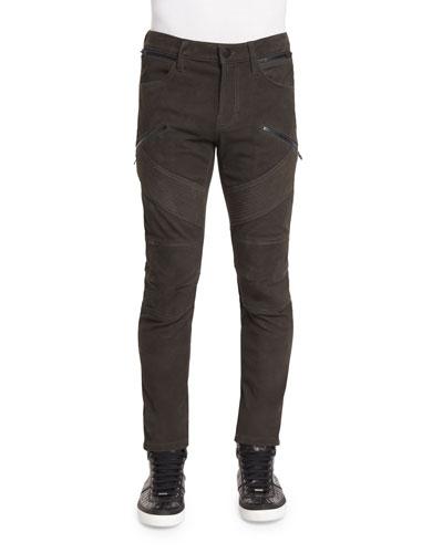 Orton Nubuck Leather Moto Pants, Taupe