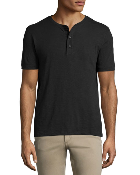 Slub Short-Sleeve Henley Shirt, Black
