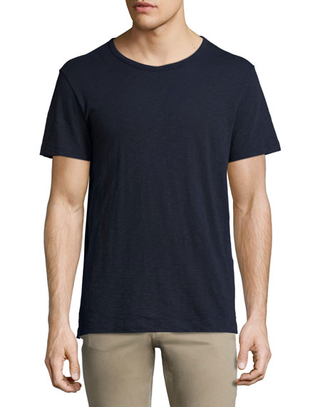 Slub Short-Sleeve Crewneck T-Shirt, Navy