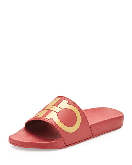 Gancini Pool Slide, Red/Gold