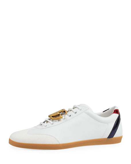 Gucci Bambi GG Leather Low-Top Sneaker, White