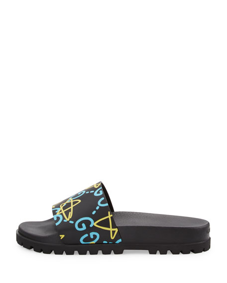 Pursuit GucciGhost Leather Sandal, Black
