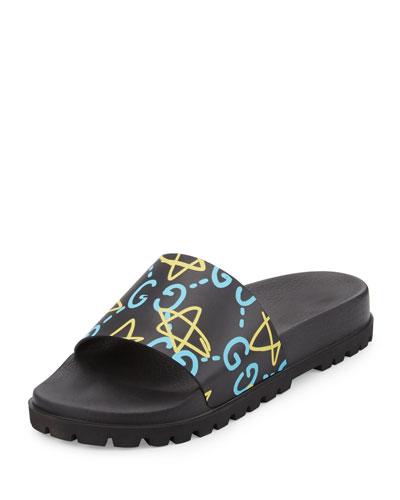 Pursuit GucciGhost Leather Sandal, Black