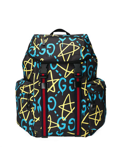 Men's GucciGhost Canvas Techpack, Black