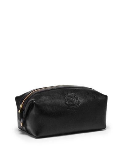 Holdall No.101 Leather Travel Toiletry Kit, Vintage Black