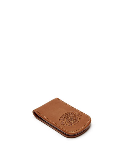Magnetic Leather Money Clip, Chestnut