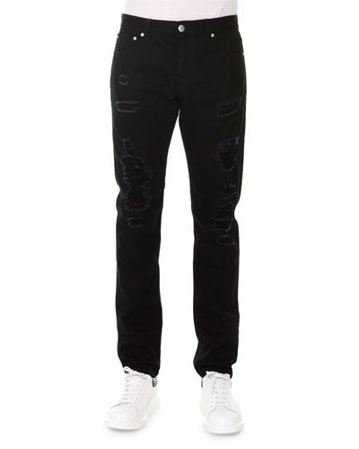 Straight-Leg Destroyed Denim Jeans w/Tartan Contrast