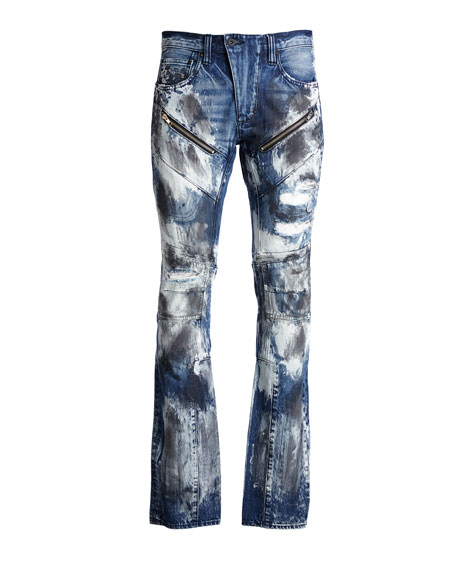 Barracuda Bleached & Distressed Denim Jeans, Dark Indigo
