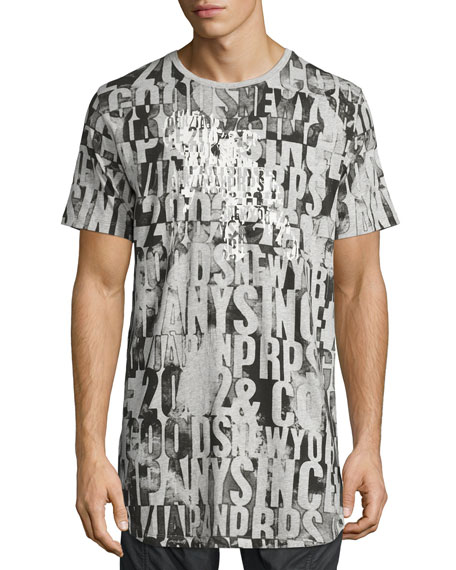 Allover Logo Print T-Shirt, Gray