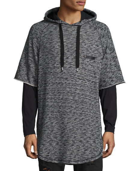 PRPS Mars Space-Dye Short-Sleeve Hoodie, Gray/Black