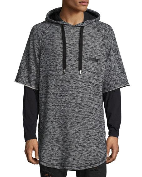 Mars Space-Dye Short-Sleeve Hoodie, Gray/Black