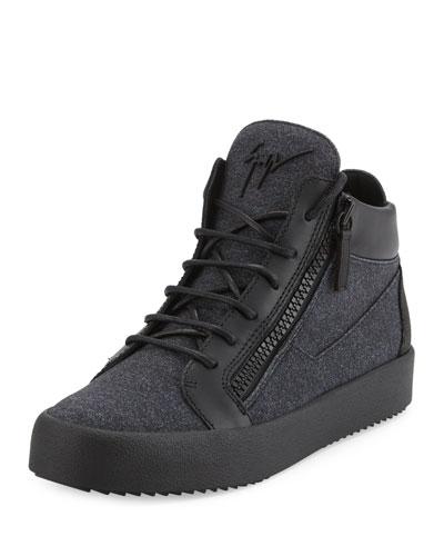 Men's Felt & Leather Mid-Top Sneaker, Charcoal