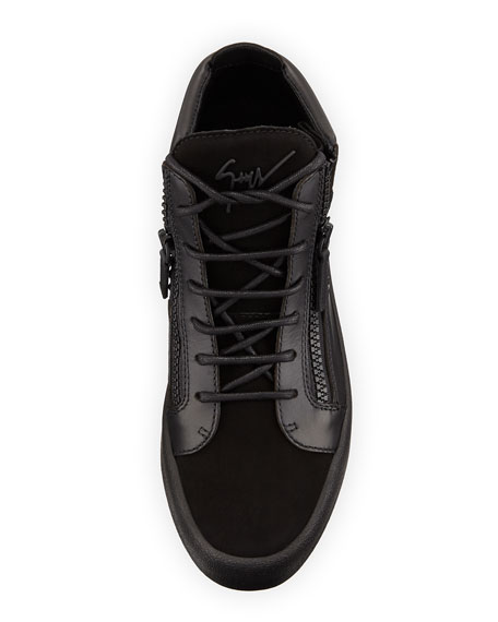 Crystal-Detail Leather & Suede Mid-Top Sneaker, Black