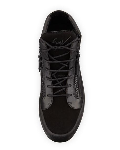 Crystal-Detail Leather & Suede Mid-Top Sneaker, Black