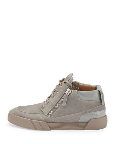 Men's Suede Mid-Top Sneaker, Light Gray