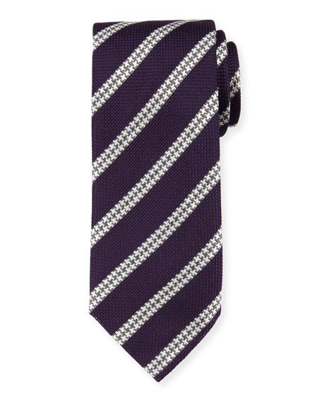 Brioni Textured Track-Stripe Silk Tie