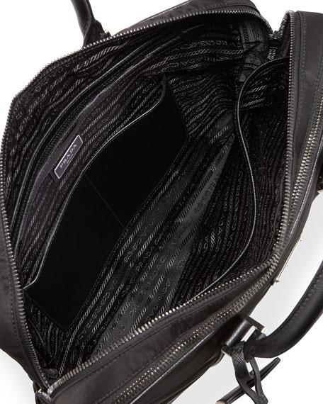 5a144e319d8aea Prada Nylon Double-Zip Briefcase, Black