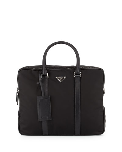 Nylon Double-Zip Briefcase, Black