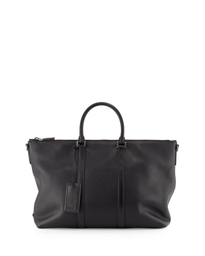 Men's East-West Soft Calfskin Tote Bag, Black