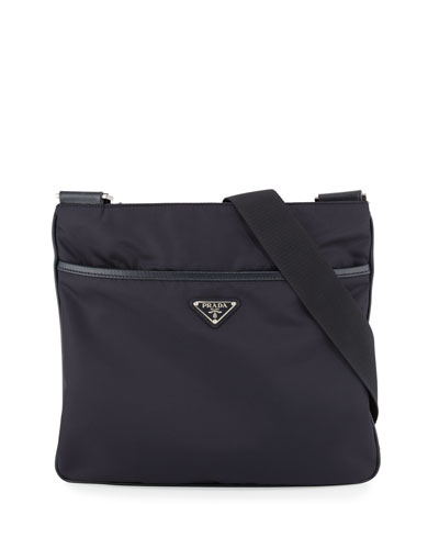Nylon Crossbody Messenger Bag, Navy