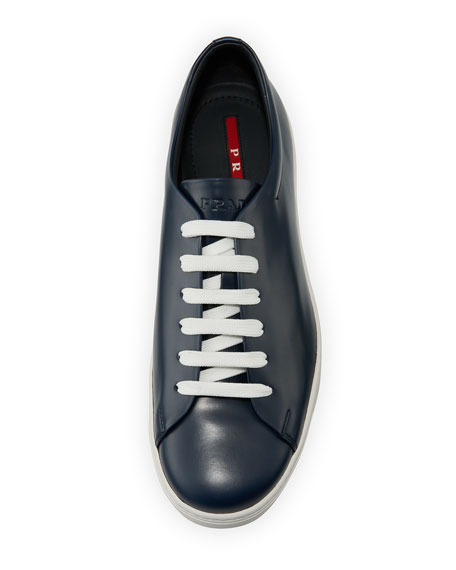 Men's Calf Leather Low-Top Sneakers, Blue