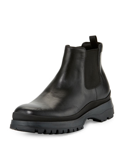 Calf Leather Chelsea Boot, Black