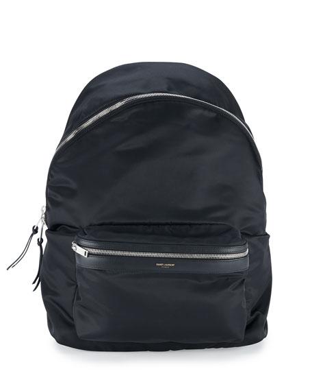 Men's Solid Nylon Backpack, Black