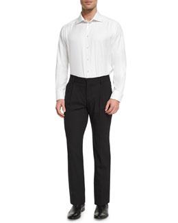 Pleated-Front Slim-Leg Pants, Black